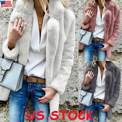 US Womens Teddy Bear Oversized Coat Ladies Winter Warm Faux Fur Jacket Plus Size