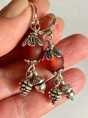 Pine Cone and Acorn Antique Silver Charm Earrings,With Frosted Glass