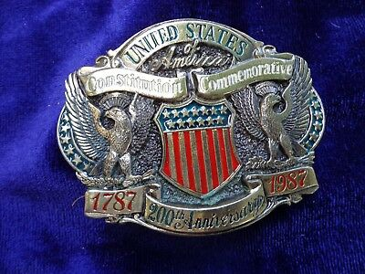United States Constitution Commemorative 200th Anniversary Belt Buckle 1787-1987