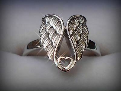 Genuine 925 Sterling Silver Angel Wings with Heart Ring