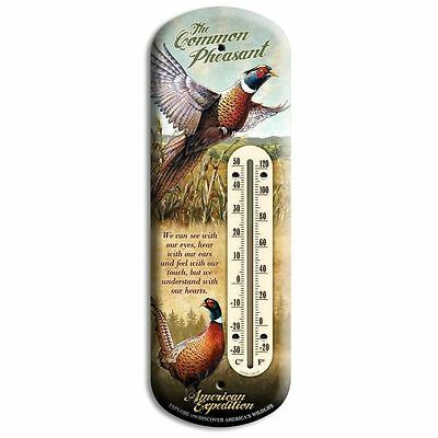 "Wildlife Back Porch Tin 4"" x 11 3/4"" Pheasant Thermometer Indoor/Outdoor"