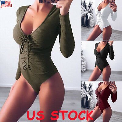Womens Long Sleeve V Neck Rib Bodysuit Ladies Stretch Party Leotard Top Jumpsuit