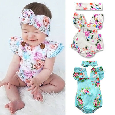 Newborn Infant Baby Girl Floral Romper Bodysuit Sunsuit Outfits Backless Clothes