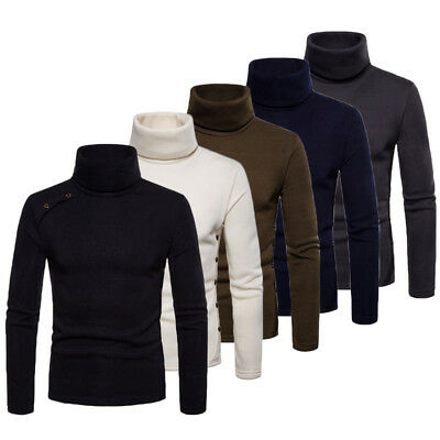 Mens Roll Neck Long Sleeve Cotton Top High & Turtle Neck Basic T Shirts
