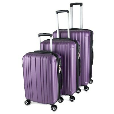 3 pcs Luggage Suitcase Trolley Set Carry On Bag Hard Case Lightweight ABS Purple