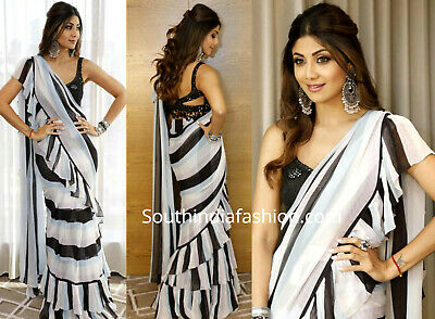 Multi Indian Saree Sari Frill Ruffle Border Bollywood Replica Georgette Print NW