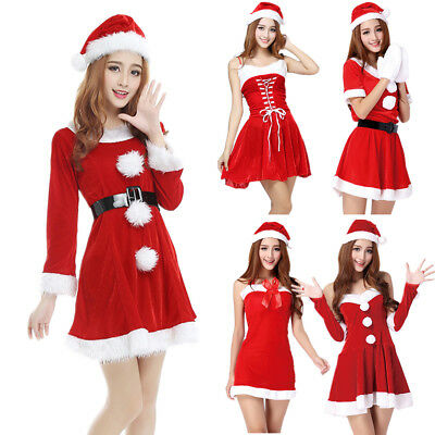 Womens Mrs Santa Claus Christmas Costume Cosplay XMAS Outfit Fancy Dress Set Hat