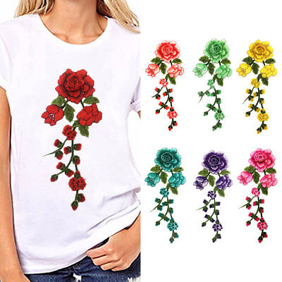 JN_ Floral Flower Applique Clothing Embroidery Patch Sticker Iron On Sew Cloth