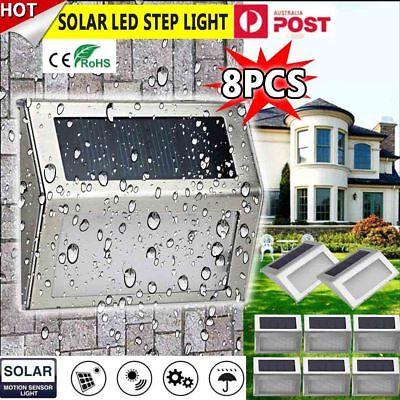 8pcs Solar Powered Door Step Fence Deck Wall Lights LED Outdoor Garden Lighting