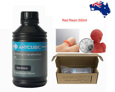 ANYCUBIC RED Resin 405nm UV Sensitive for SLA PHOTON 3D Printer 500ml AU Stocks