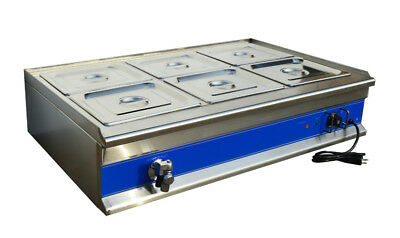 INTBUYING Commercial Soup Food Warmer Bain Marie Canteen Buffet 6-Well 110V
