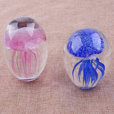 Handmade Glass Crystal Jellyfish Glow in the Dark Paperweight Craft Gift Décor