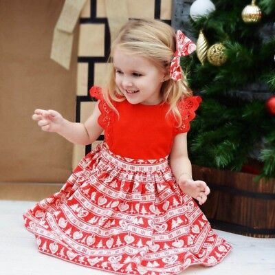 AU Christmas Xmas Baby Girls Sister Kids Lace Romper Dress Party Dresses Costume
