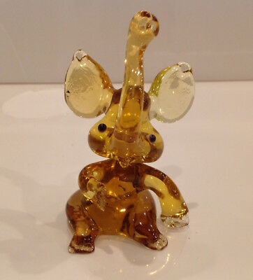 "Souvenir Elephant 4.75"" Blown glass Lampwork Russian Murano Figure Handmade gift"