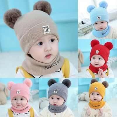 Baby Toddler Girls Boys Infant Warm Winter Knit Beanie Ball Hats Scarf and Cap