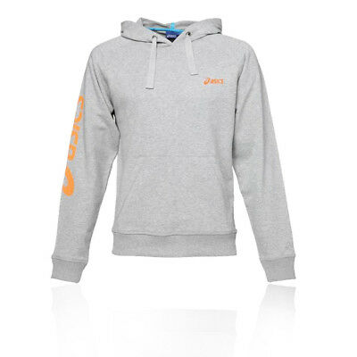 ASICS HOMMES MS Sweat À Capuche Sweater Sport Top Gris Gym Jogging Chaud