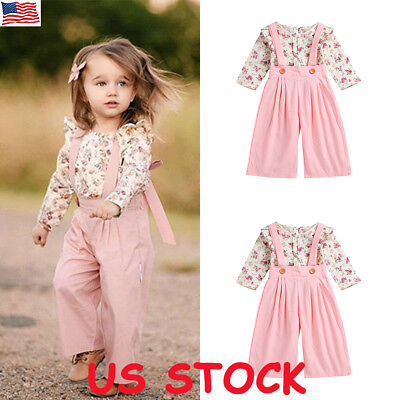 US Toddler Kids Baby Girl Autumn Outfit Clothes T-shirt Tops+Long Pants 2PCS Set