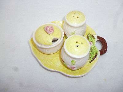 VINTAGE CHINA CRUET SET - SALT PEPPER MUSTARD with DISH looks like Carlton Ware