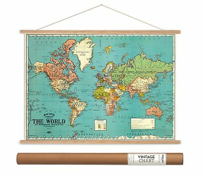 Cavallini Papers Bacon's World Map Vintage Style Decorative Poster & Hanger Kit,