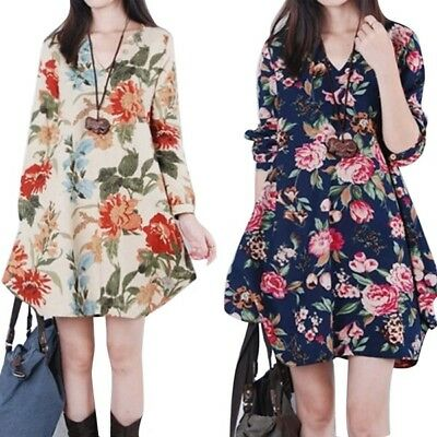 Women's Pregnant Floral Linen Maternity Long Sleeve V-Neck Loose Casual Dress AU