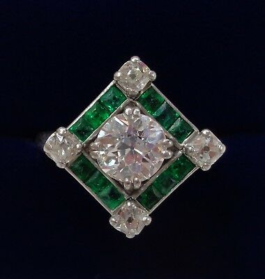 French Art Deco 1.85ct Diamond and Emerald Ring Platinum - MAUBOUSSIN - RARE!
