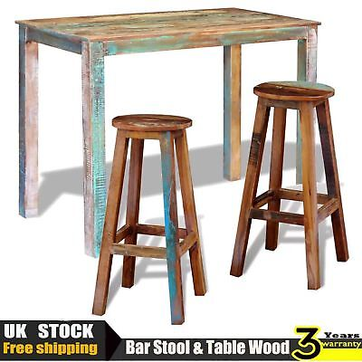 Bar Table And Stool Chair Rustic Seat Solid Reclaimed Wood Pub Breakfast Kitchen