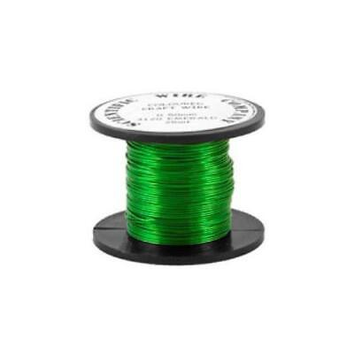 1 x Bright Green Plated Copper 0.9mm x 5m Round Craft Wire Coil W3120