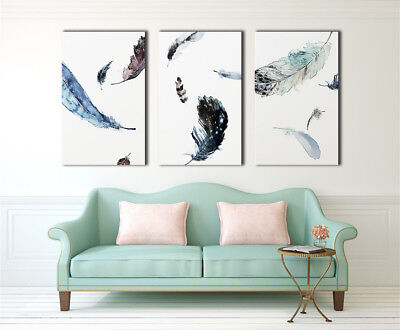Watercolour Blurred Feather Framed Canvas Prints Modern Wall Art Home Decor