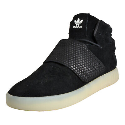 Adidas Originals Tubular Invader Strap Men's Suede Leather Mid Top Trainers Blac