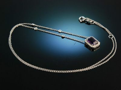 Lovely Violet! Traumhaftes Collier Necklace Weiss Gold 750 Amethyst Brillanten