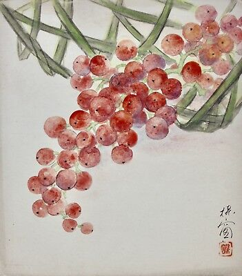 Japanese Watercolor Painting on Paper Shikishi-ban, Bunch of grapes Showa Period