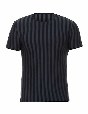Bruno Banani Men's Cross Walk T-Shirt Black Pinstripe Undershirt Designer Top