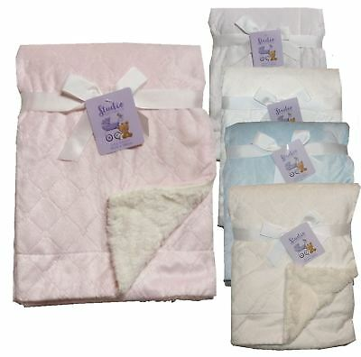 Diamond Embroidered Mink Sherpa Fleece Baby Blanket 100 x 75 pram crib moses