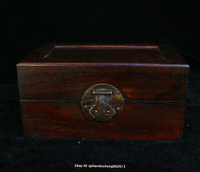 20CM Collect Chinese old Rosewood Handmade jewelry box wooden sculpture QFHK