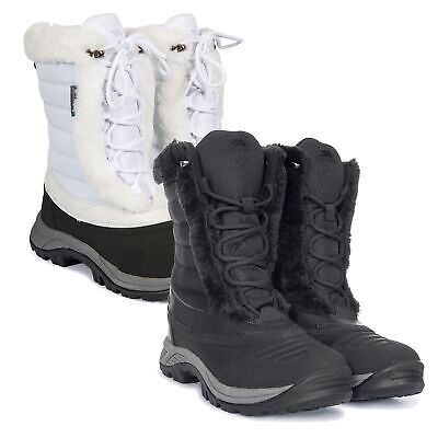 2879cb1a3a6b2 Trespass Stalagmite II Womens Snowboots in White & Black Waterproof &  Insulated