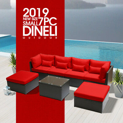 DINELI S 7C Rattan Wicker Sofa Set Sectional Couch Furniture Patio Outdoor Red