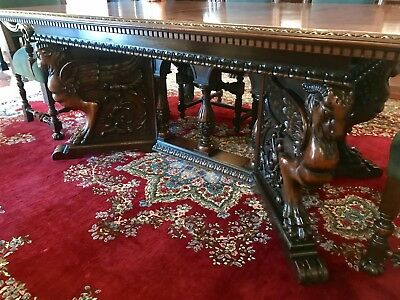 Antique 19th Century Neo Renaissance Marquetry Top Grand Dining / Library Table