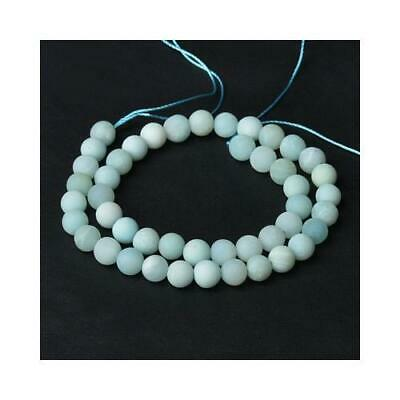 Amazonite Round Beads 8mm Pale Blue 40+ Pcs Frosted Gemstones Jewelry Making