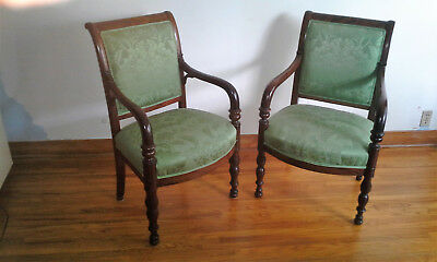 Pair Antique C1820 French Restauration Mahogany Armchairs