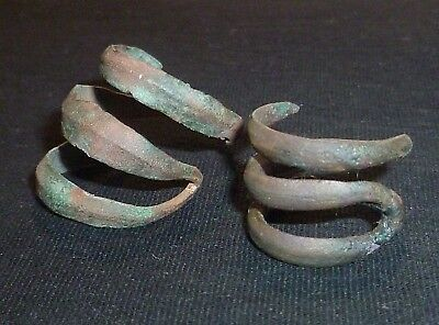 Lot of 2 CELTIC Artifacts - Bronze SNAKE RINGS - Circa 100 BC               /491