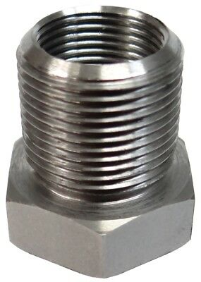1/2-36 ID to 5/8-24 OD Threaded Barrel Adapter - Stainless Steel - Free Shipping