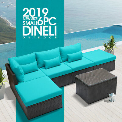DINELI S 6L Rattan Wicker Sofa Set Sectional Couch Furniture Patio Outdoor Blue