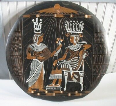 "Vintage 20 "" Egyptian Etched Copper Nickel Disk Plate Wall Plaque ART piece"
