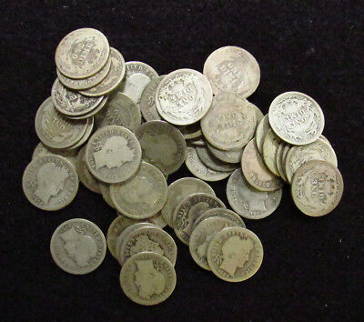 MIXED DATE/ MINT MARK Barber Dime AVERAGE CIRCULATED 50 Coin FULL ROLL