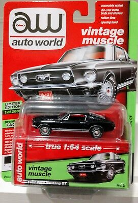 1/64 AUTO WORLD VINTAGE MUSCLE 1967 FORD MUSTANG GT black 1 of only 3000