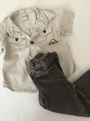 Old Navy Sonoma Beige Hawaiian Button Down Shirt Pants Jeans Size 2T Brown