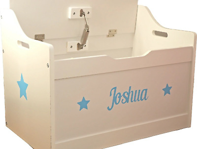 Baby Blue Text Personalised White Wooden Toy box Children's Christmas Present