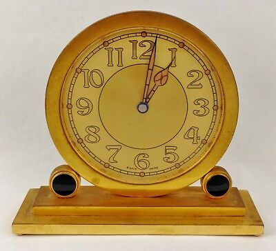Concord Gilt & Black Enamel Decorated Art Deco 8 day Mantel Table clock Swiss