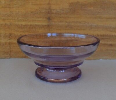 """Antique Sun Kissed Purple Glass Footed Berry Bowl 4"""" Width Starburst on Bottom"""