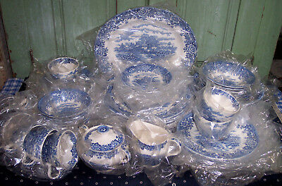 62Pcs NEW Vintage Staffordshire English Village China 8 Place Settings + Extras